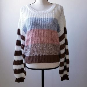 Striped Balloon Sleeve Color Block Knit Sweater